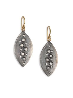 RENE ESCOBAR Small Diamond, Sterling Silver & 18K Yellow Gold Leaf Drop Earrings