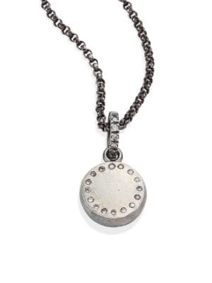 """Image of Diamond-dotted disc suspends from edgy chain necklace. Diamonds, 0.22 tcw. Sterling silver. Length, 18"""".Diameter, 1"""".Toggle clasp. Made in USA."""