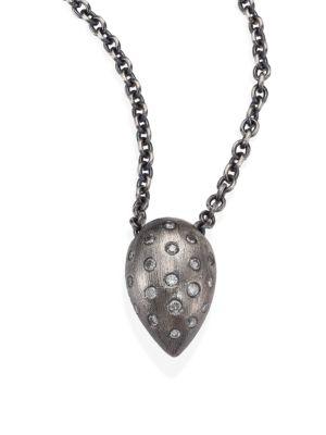 RENE ESCOBAR Small Diamond & Sterling Silver Teardrop Pendant Necklace