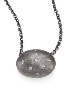 RENE ESCOBAR Diamond & Sterling Silver Oval Pendant Necklace