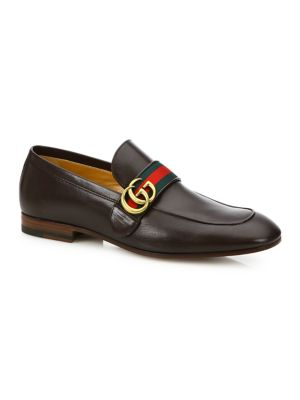 Leather Loafer With Gg Web, Brown