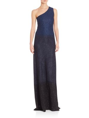 Wool-Blend One-Shoulder Gown