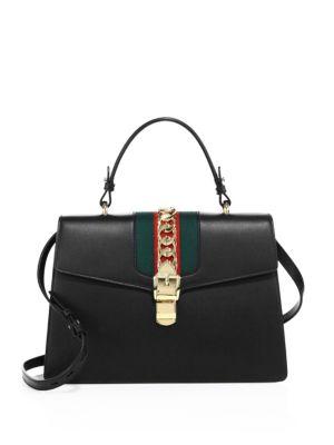Sylvie Top Handle Leather Shoulder Bag - Black