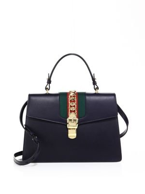 Sylvie Leather Top-Handle Satchel Bag, Blue in Black