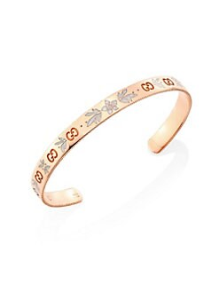 4d9c2b78be8 Gucci. Icon Blossom 18K Rose Gold   Enamel Bangle Bracelet