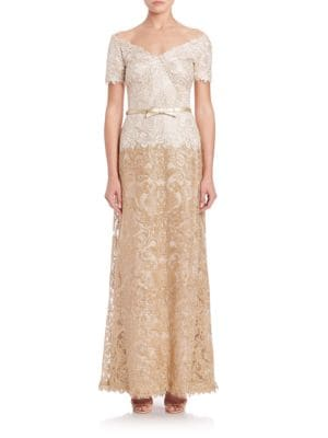 Buy Tadashi Shoji Off-The-Shoulder A-Line Belted Lace Gown online with Australia wide shipping