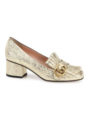 Marmont Gg Crinkle Metallic Leather Block Heel Pumps by Gucci