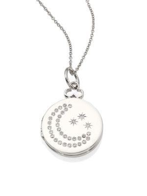 VERSACE PAVÉ DIAMOND & 14K WHITE GOLD INFINITY DISC PENDANT NECKLACE, NA