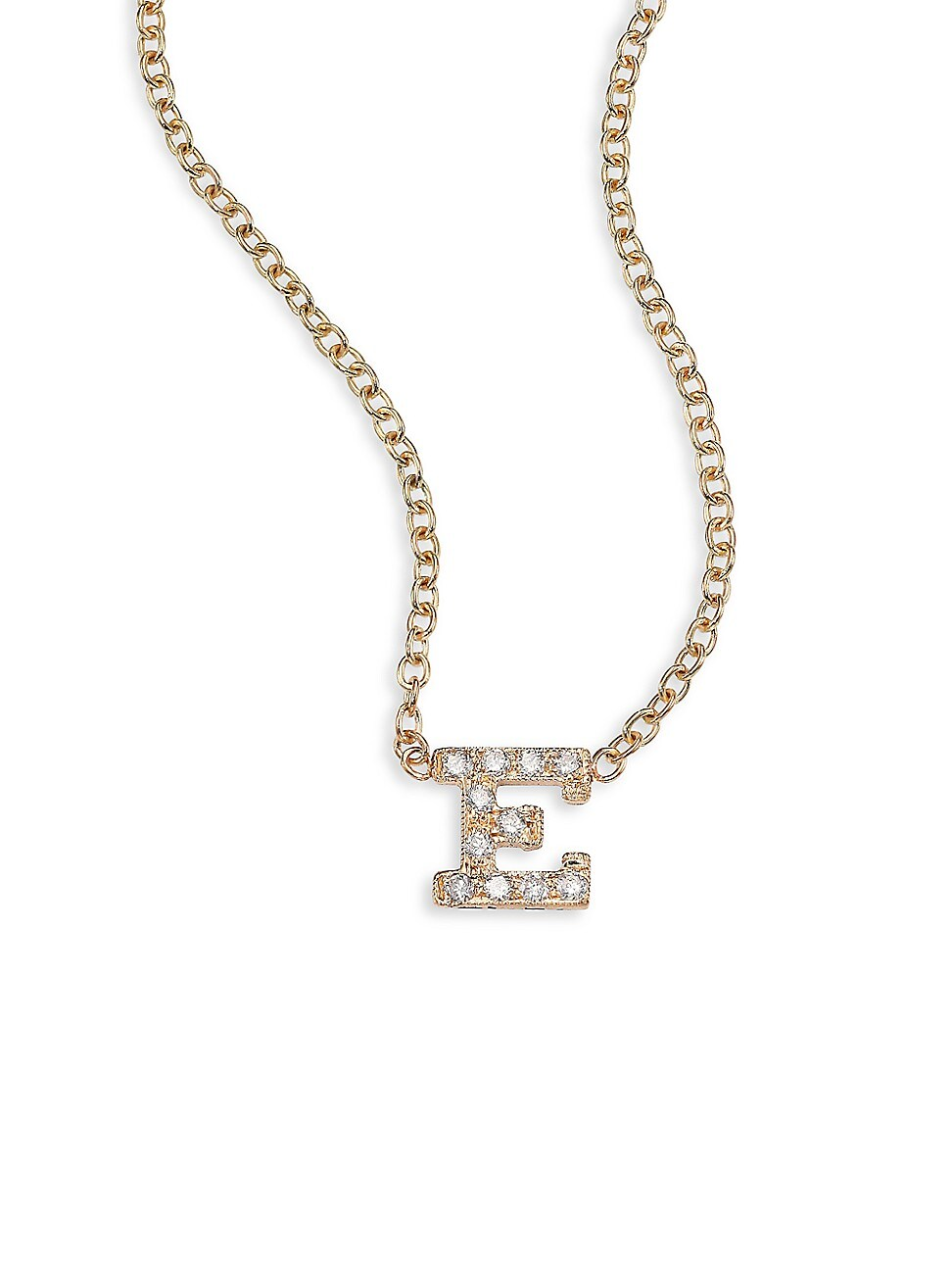 Zoë Chicco Women's Pavé Diamond & 14k Yellow Gold Initial Pendant Necklace In Initial E