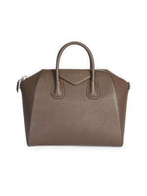 'Medium Antigona' Sugar Leather Satchel - Grey, Heather Grey