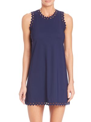 KARLA COLLETTO SWIM Zigzag Trimmed Roundneck Dress in Navy