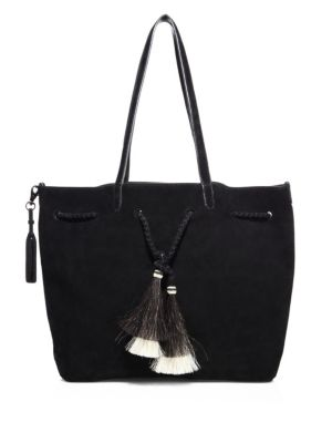 Double Handle Drawstring Suede Tote