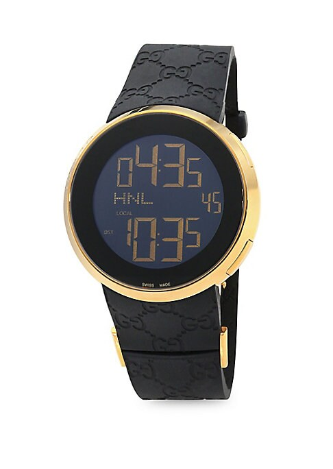"""Image of From the I-Gucci Collection. Digital movement. Water-resistant up to 3 ATM. Round case, 44mm (about 2"""").Leather strap. Three-blade deployment buckle. Made in Switzerland."""