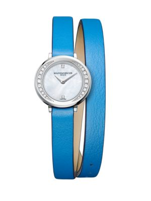 "Image of Elegant diamond-set watch secured on vibrant leather strap. Quartz movement. Water resistant to 5 ATM. Round polished stainless steel steel case, 22mm (0.86"").Smooth ellipse bezel with pave diamond inner accent, 0.16 tcw. Recessed crown. Sapphire crystal."