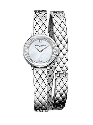 """Image of Elegant double-wraparound watch with pavé diamond bezel Quartz movement Water resistant to 5 ATM Round polished stainless steel case, 22mm (0.86"""") Smooth ellipse bezel with pavé diamond inner accent, 0.16 tcw Recessed crown Sapphire crystal White mother-o"""
