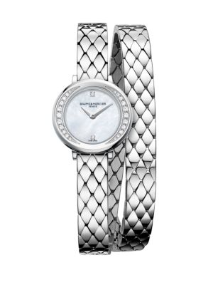 "Image of Elegant double-wraparound watch with pave diamond bezel. Quartz movement. Water resistant to 5 ATM. Round polished stainless steel steel case, 22mm (0.86"").Smooth ellipse bezel with pave diamond inner accent, 0.16 tcw. Recessed crown. Sapphire crystal. Wh"
