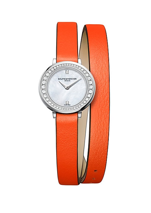 """Image of Elegant diamond-set watch secured on vibrant leather strap. Quartz movement. Water resistant to 5 ATM. Round polished stainless steel steel case, 22mm (0.86"""").Smooth ellipse bezel with pave diamonds, 0.31 tcw. Recessed crown. Sapphire crystal. White mothe"""