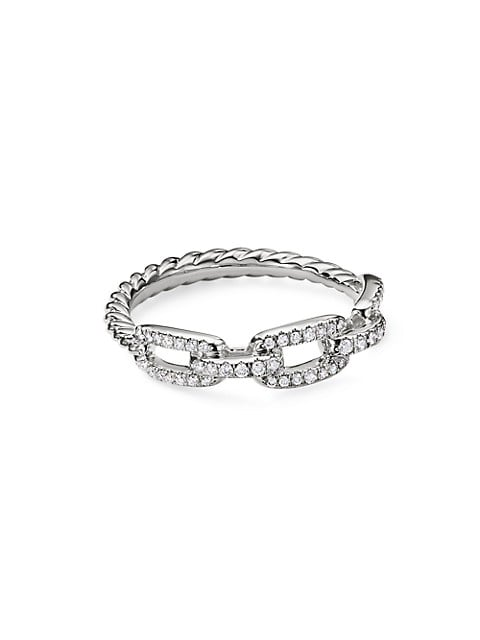 Stax Single-Row Pavé Chain Link Ring In 18K White Gold With Diamonds