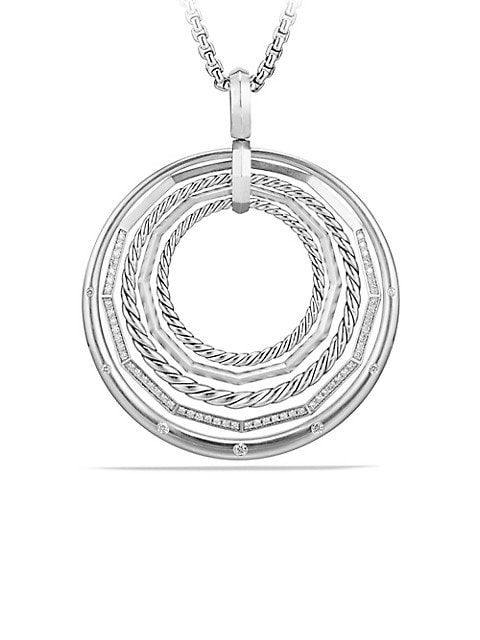 Stax Sterling Silver Large Pendant Necklace with Diamonds