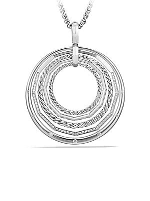 """Image of From the Stax Collection Pavé diamonds, 0.49 tcw Sterling silver Pendant, about 1.1""""W x 1.1""""L Thin box chain length, about 16"""" Lobster clasp Made in USA. David Yurman - David Yurman Silver Ice. David Yurman. Color: Silver."""