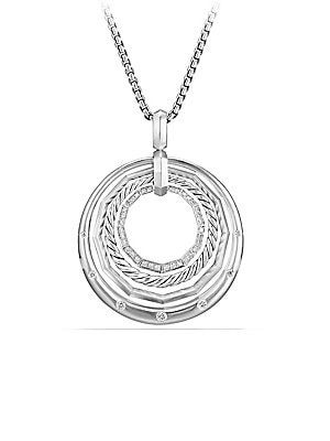 "Image of From the Stax Collection Pavé diamonds, 0.26 total carat weight Sterling silver Adjustable chain length, 36"" longest Pendant, 32mm Adjustable slider clasp Imported. David Yurman - David Yurman Silver Ice. David Yurman. Color: Silver."