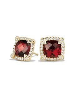 3d479018d QUICK VIEW. David Yurman. Châtelaine Pave Bezel Stud Earring with Garnet  and Diamonds