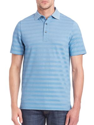 Image of EXCLUSIVELY OURS. Perfect fit stylish polo in striped design. Polo collar. Short sleeves. Three-button placket. Pima cotton/polyester. Machine wash. Imported.