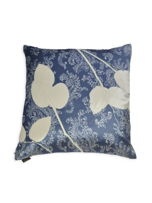 "Image of From the Velvet collection. Alluring paisley prints and enticing lemon leaves give this plush, beautiful pillow a lively appeal.24""W x 24""H.Insert: Feather down. Silk dupioni. Dry clean. Made in USA."