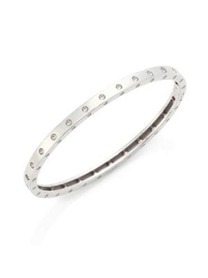 Roberto Coin Pois Mois 18K White Gold Oval Bangle Bracelet