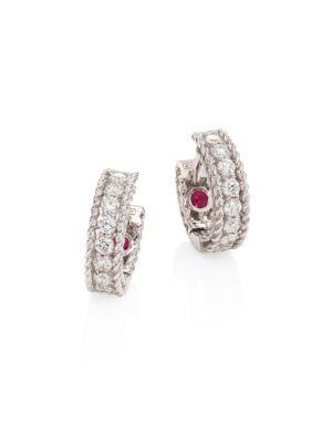 Roberto Coin Symphony Braided Diamond 18k White Gold Huggie Hoop Earrings