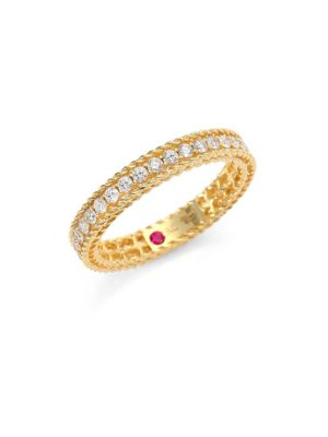 Symphony Braided Diamond & 18 K Yellow Gold Band Ring by Roberto Coin