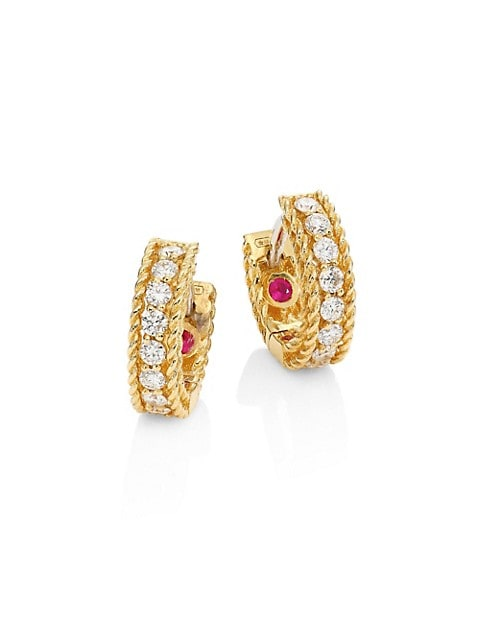 Symphony Braided Diamond & 18K Yellow Gold Huggie Hoop Earrings