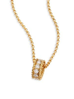 Symphony Braided Diamond & 18 K Yellow Gold Pendant Necklace by Roberto Coin
