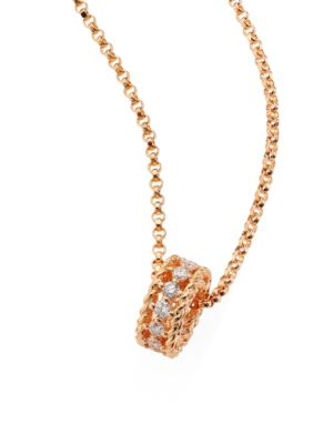 Symphony Braided Diamond & 18 K Rose Gold Pendant Necklace by Roberto Coin