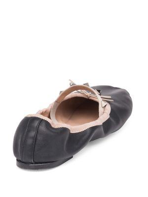 VALENTINO Leathers Rockstud Leather Ballet Flats