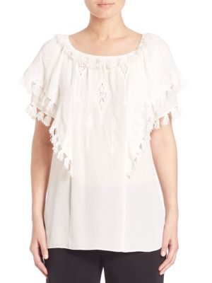 Kerry Embroidered Silk Peasant Blouse by KOBI HALPERIN