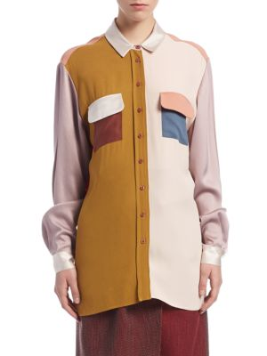 Patchwork Button-Front Shirt by Lanvin