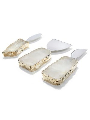 Image of Bring home this set of cheese knives and spreaders to accessorize your tabletop with the element of ravishing beauty and charm. It features glistening 24K gold electroplating on the polished semiprecious gemstones to create its luxuriant look. Includes: T