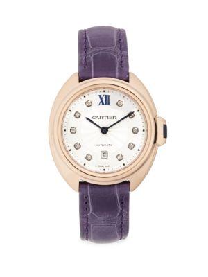 Cartier Clé de Cartier Diamond, 18K Rose Gold & Aubergine Alligator-Strap Watch