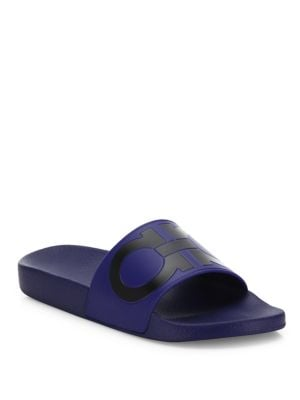 5d76e15fc72 A cool double-Gancio motif tops off a laid-back sandal fashioned from  smooth