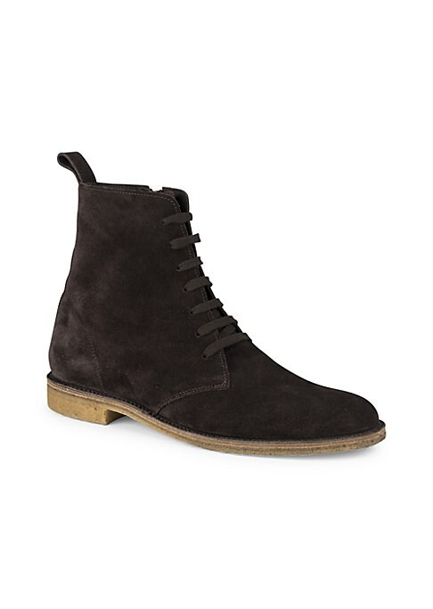 Image of Fashionable ankle boots in rich suede. Suede upper. Round toe. Lace-up style. Side zipper. Rubber sole. Made in Italy.