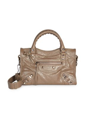 Balenciaga Small City Arena Leather Satchel In Elephant