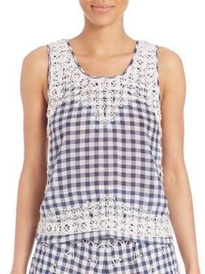 Yunes Embroidered Check Top by Calypso St. Barth