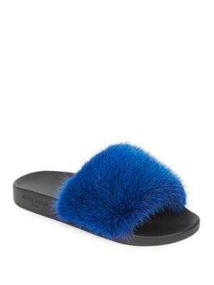 Mink Fur Slide Sandals - Blue Size 8