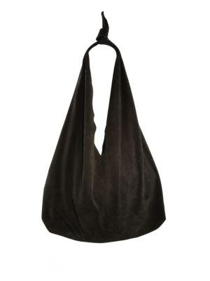 Bindle Knot Suede Hobo Bag in Black
