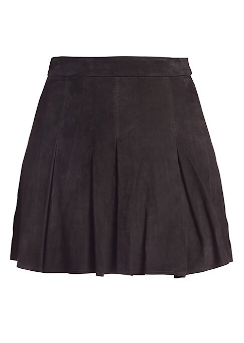 """Image of Cool suede mini skirt with box pleats. Banded waist. Exposed back zipper closure. Lined. About 18"""" long. Leather. Dry clean by leather specialist. Imported. Model shown is 5'10"""" (177cm) wearing US size 4."""