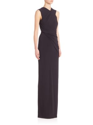 """Image of Artful draping and elevate sleek silhouette column gown. Surplice neckline. Sleeveless. Draping detail. Back cutout. Pullover style. About 62"""" from shoulder to hem. Acetate/nylon/elastane. Dry clean. Imported. Model shown is 5'10"""" (177cm) wearing US size"""