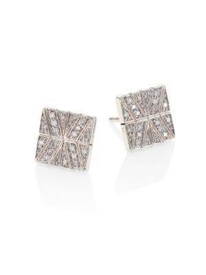 Sterling Silver Modern Chain Stud Earrings With Diamonds