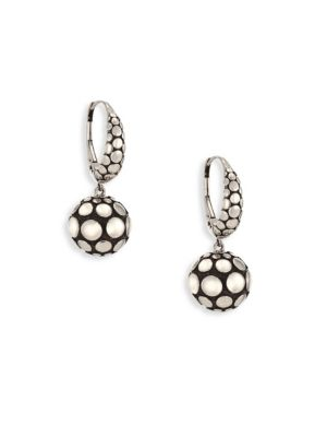 "Image of Dotted silver drop earrings with single sphere. Silver. Length, about 1.1"".Leverback. Imported."