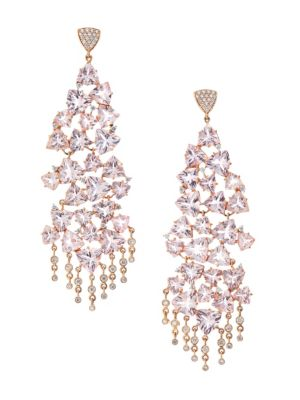 Hueb Accessories Trilliant 18K Rose Gold, Diamond & Morganite Drop Earrings